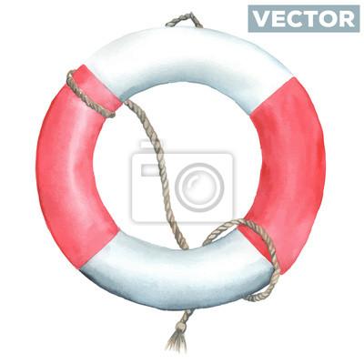 Watercolor lifebuoy