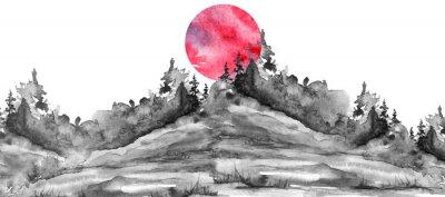 Sticker Watercolor logo, postcard, background Black silhouette of the forest, pine, spruce, cedar, wild grass, bush. Watercolor landscape,coast, island.black splash of paint, abstract spots. Red, pink sun