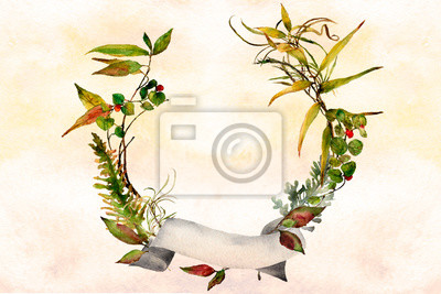 watercolor ombre wash background texture with leafy wreath and banner