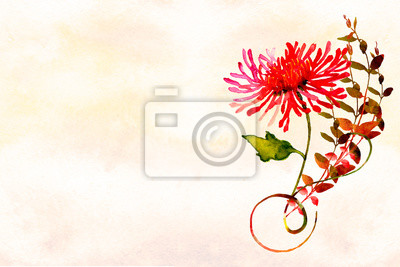 watercolor ombre wash textured background with flower