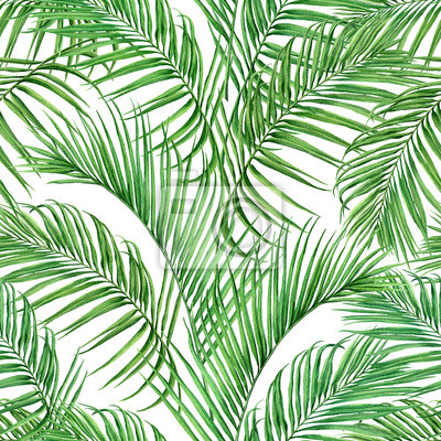 Watercolor painting coconut,palm leaf,green leave seamless pattern isolated on white background.Watercolor hand drawn illustration tropical exotic leaf for wallpaper vintage Hawaii jungle style patter