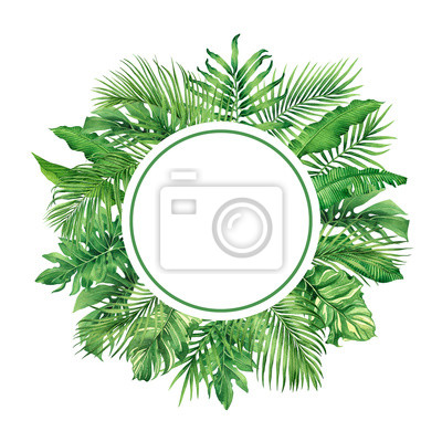 Watercolor painting frame tropical leaves coconut,palm,green leaf on white background.Watercolor hand drawn illustration tropical exotic leaf for wallpaper,backdrop,wedding card,vintage Hawaii style.