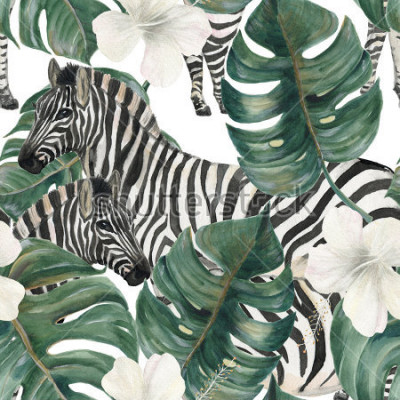 Sticker Watercolor painting seamless pattern with tropical deliciosa leaves, hibiscus flowers and zebra