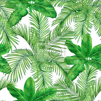 Watercolor painting tree coconut,palm leaf,green leave seamless pattern background.Watercolor hand drawn illustration tropical exotic leaf prints for wallpaper,textile Hawaii aloha jungle pattern.