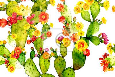 watercolor prickly pear cactus