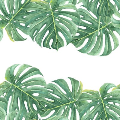 Sticker Watercolor seamless background with colorful tropical leaves and bright plants on light background. Jungle print. Floral background. Printing and textiles. Exotic tropics. Fresh design.