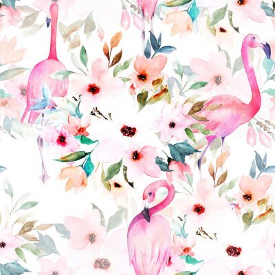 Watercolor seamless pattern. Floral print with flamingo.