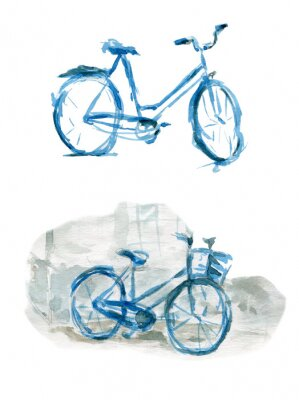 Watercolor sketch of two bicycles in blue color. Watercolor Illustration isolated on white background. Can be used for cards, wallpapers, interiors, backgrounds, invitations, fabrics.