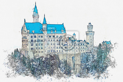 Watercolor sketch or an illustration of a beautiful view of the ancient castle Neuschwanstein in Germany