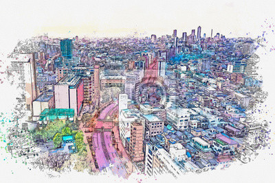 Watercolor sketch or illustration of a beautiful aerial night view of Tokyo in Japan. Cityscape or urban skyline