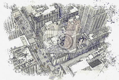 Watercolor sketch or illustration of a beautiful aerial view of the street in New York in America
