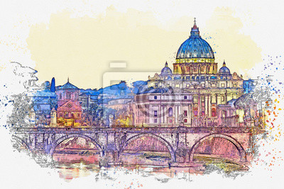 Watercolor sketch or illustration of a beautiful night view at St. Peter's cathedral in Rome in Italy