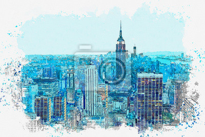 Watercolor sketch or illustration of a beautiful panoramic night view of the New York City skyline with urban skyscrapers