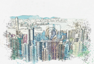 Watercolor sketch or illustration of a beautiful panoramic view of Hong Kong in China. Cityscape or urban skyline