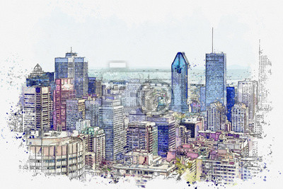 Watercolor sketch or illustration of a beautiful panoramic view of the city of Montreal in Canada. Cityscape or urban skyline