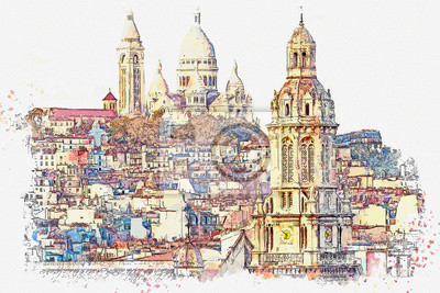 Watercolor sketch or illustration of a beautiful view in Paris in France. Sacre Coeur on top of Montmartre hill