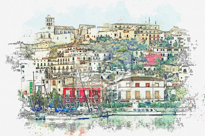 Watercolor sketch or illustration of a beautiful view of a small coastal town in Italy with traditional European architecture