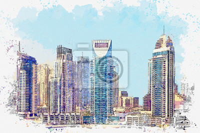 Watercolor sketch or illustration of a beautiful view of modern architecture in Dubai in the United Arab Emirates. Cityscape or urban skyline