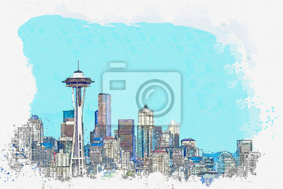 Watercolor sketch or illustration of a beautiful view of Seattle in America. Cityscape or urban skyline