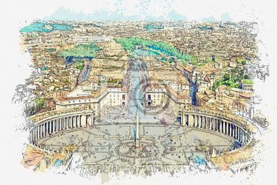 Watercolor sketch or illustration of a beautiful view of St. Peter's Square and other architecture in Rome in Italy