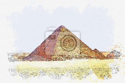 Watercolor sketch or illustration of a beautiful view of the ancient Egyptian pyramid