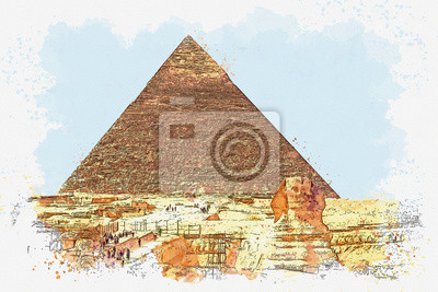 Watercolor sketch or illustration of a beautiful view of the ancient Egyptian pyramid of Cheops and Sphinx