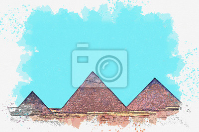 Watercolor sketch or illustration of a beautiful view of the ancient Egyptian pyramids
