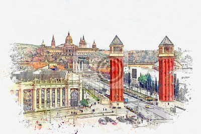 Watercolor sketch or illustration of a beautiful view of the architecture of Barcelona in Spain, including the National Museum of Art of Catalonia