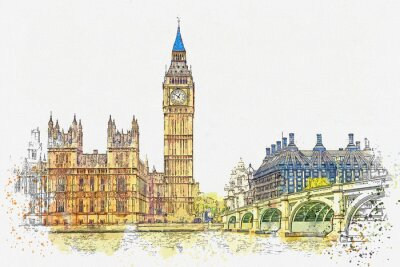 Sticker Watercolor sketch or illustration of a beautiful view of the Big Ben and the Houses of Parliament in London in the UK