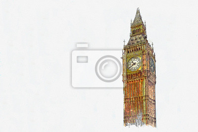 Watercolor sketch or illustration of a beautiful view of the Big Ben in London in the UK