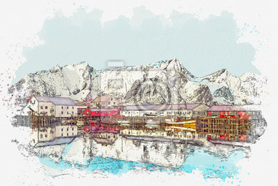 Watercolor sketch or illustration of a beautiful view of the coastal city of Bergen in Scandinavia