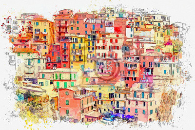 Watercolor sketch or illustration of a beautiful view of the colorful houses in Manarola - a small town in Italy, which is located on the rock near the sea