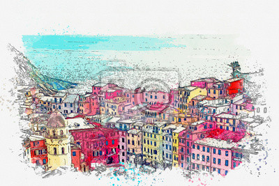 Watercolor sketch or illustration of a beautiful view of the colorful houses in Vernazza, a small Italian town by the sea