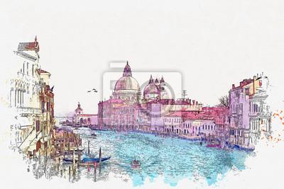 Watercolor sketch or illustration of a beautiful view of the Grand Canal with Basilica di Santa Maria della Salute in Venice, Italy