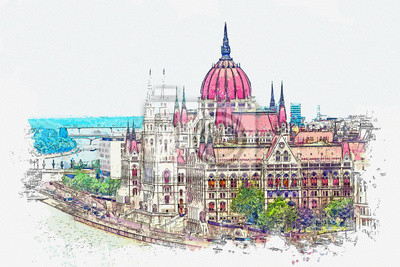 Watercolor sketch or illustration of a beautiful view of the Hungarian Parliament building in Budapest in Hungary. Traditional European architecture
