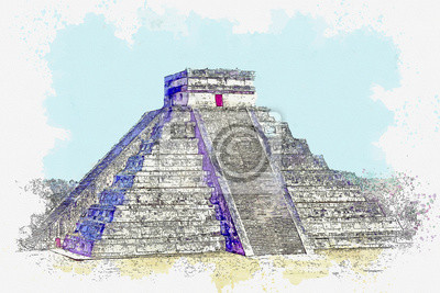 Watercolor sketch or illustration of a beautiful view of the Kukulkan pyramid in Chichen Itza in Mexico. Mayan civilization architecture