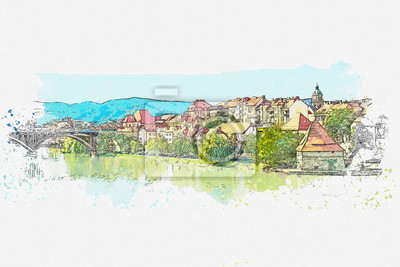 Watercolor sketch or illustration of a beautiful view of the traditional architecture in the Old Town of Bern in Switzerland