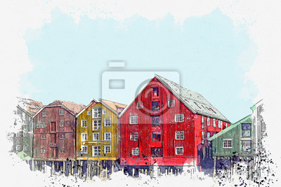 Watercolor sketch or illustration of a beautiful view of the traditional colorful houses in the city of Trondheim in Scandinavia