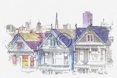 Watercolor sketch or illustration of a beautiful view of the traditional colorful houses Painted Ladies and other architecture in San Francisco in America