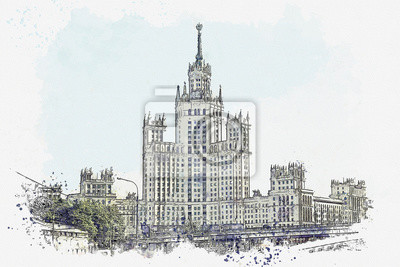 Watercolor sketch or illustration of a beautiful view of the traditional old architecture on the Kotelnicheskaya Embankment in Moscow in Russia