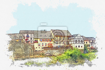 Watercolor sketch or illustration of a beautiful view of traditional architecture or houses in Germany