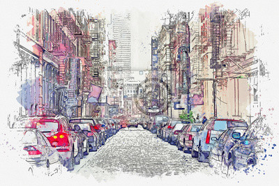 Watercolor sketch or illustration of a street in New York with houses and parked cars