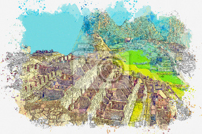 Watercolor sketch or illustration of the beautiful view of Machu Picchu in Peru. The ruins of the buildings of the Inca civilization