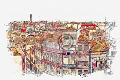 Watercolor sketch or illustration of the beautiful view of Porto in Portugal. Cityscape or urban skyline