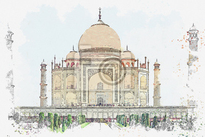 Watercolor sketch or illustration of the beautiful view of the Taj Mahal in India