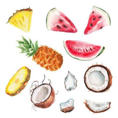 Sticker watercolor summer fruits set