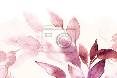 watercolor texture background pink leaves