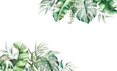 Sticker Watercolor tropical leaves border illustration