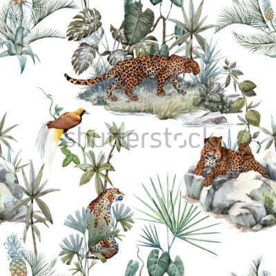 Sticker Watercolor tropical pattern with a leopard animal, a wild leopardle walking through the jungle, a leopard with a cub lying on the beds. Birds of Paradise on the tree. Palm tree and Monsterra plant.