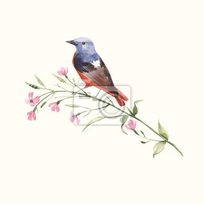 Watercolor vector bird on the flower